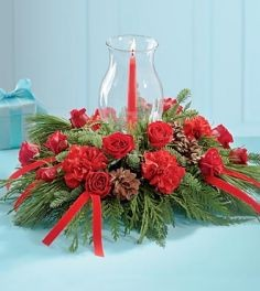 Christmas Centerpiece with Hurricane